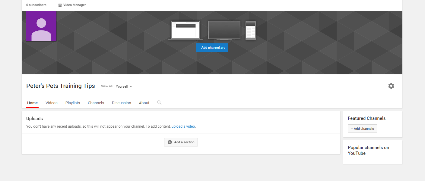 The home page for a new company YouTube channel.