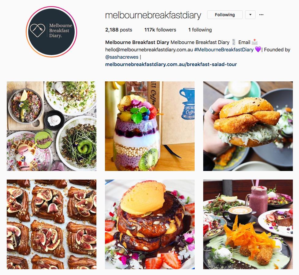 Instagram Marketing Strategy - Melbourne Breakfast Diary Instagram