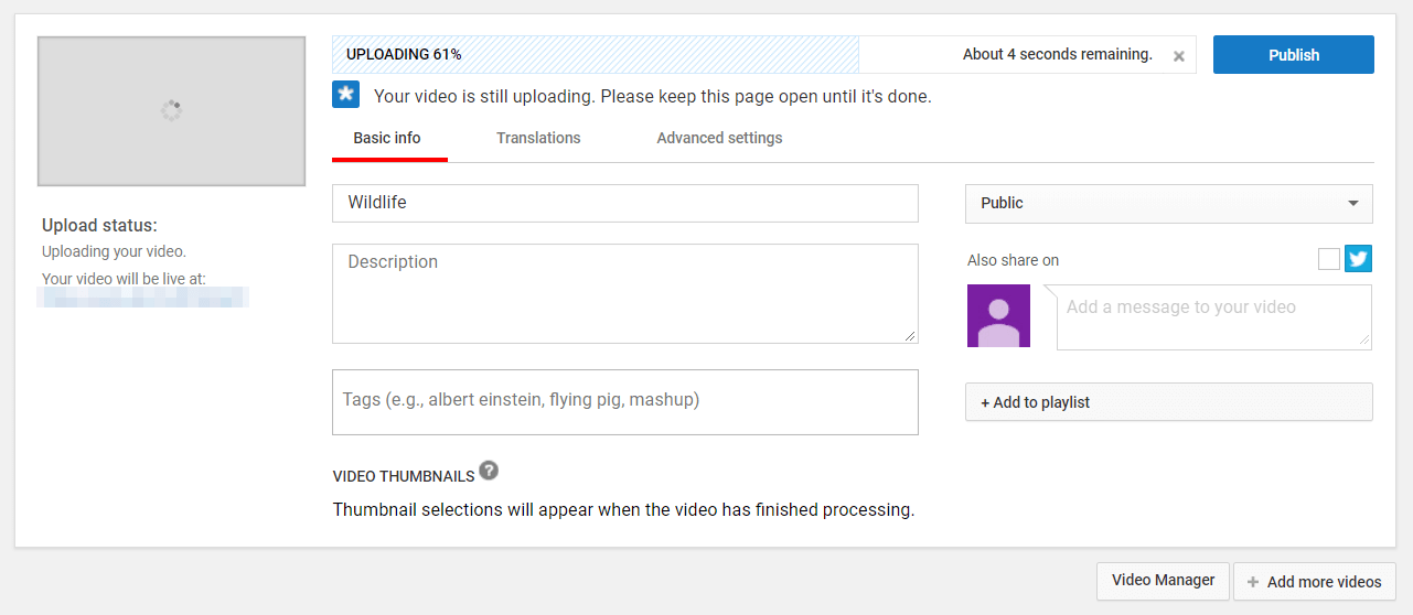 Uploading a YouTube video.