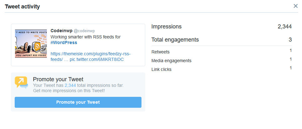 A retweet with no engagement at all manages to get good impressions