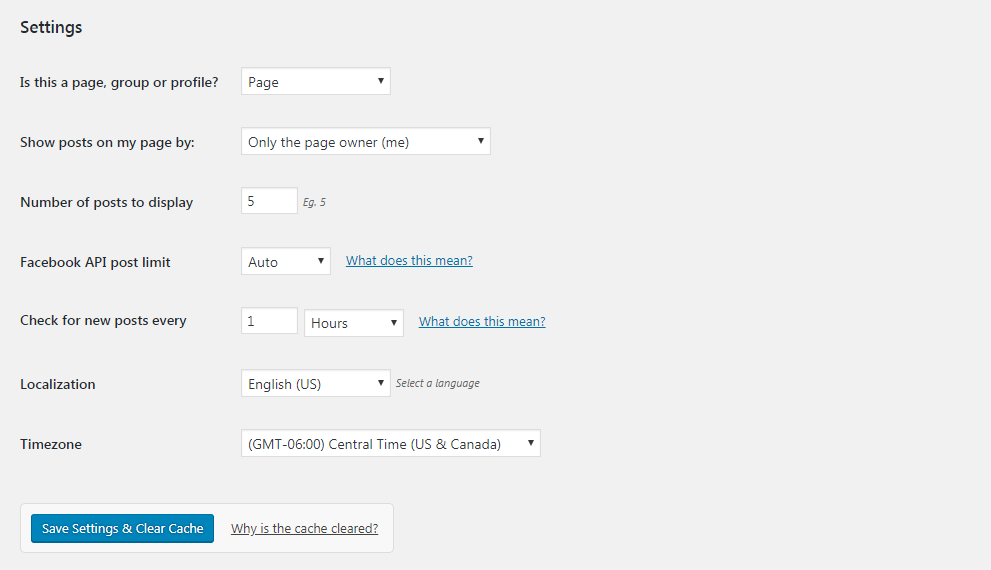 Options to configure the Custom Facebook Feed plugin.