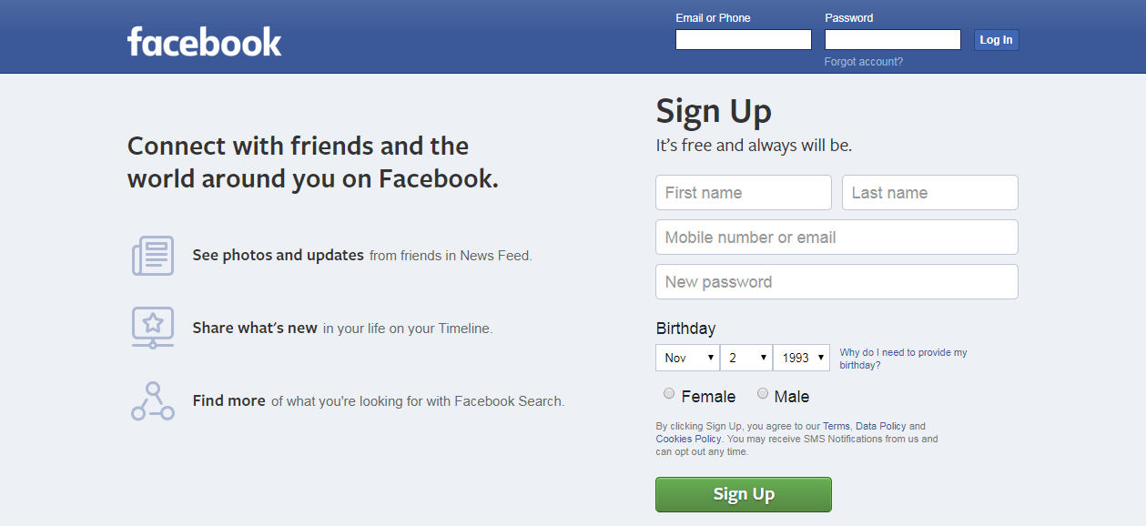 The Facebook website.